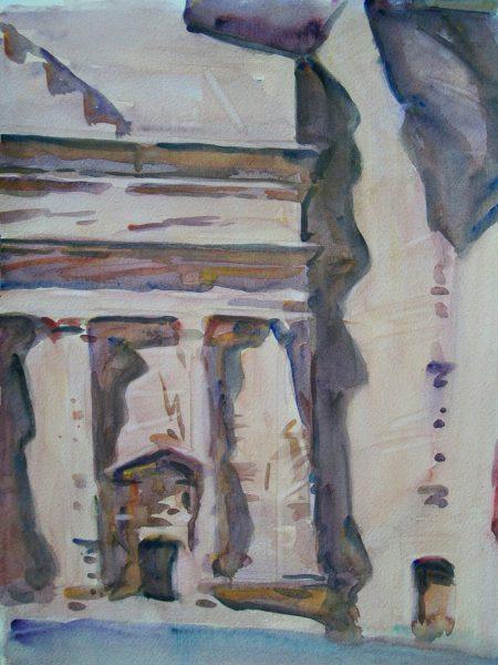 Antony Bream - Petra, early morning - Watercolour - 22 x 15 in