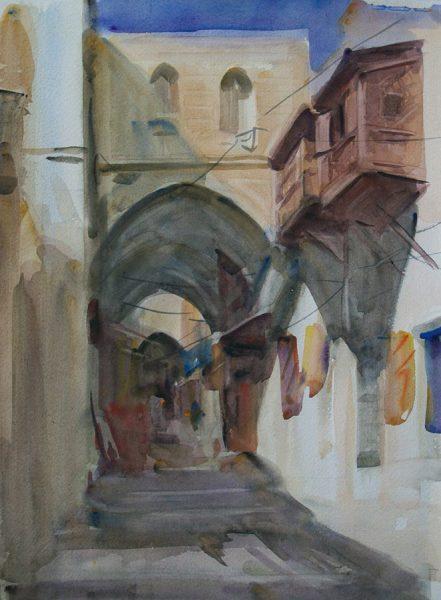 Antony Bream - Towards Jaffa Gate II, Jerusalem - Watercolour - 22 x 15 in