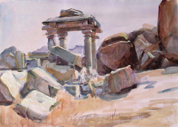 Antony Bream - Early Temple, Hampi, India - Watercolour - 15 x 22 in