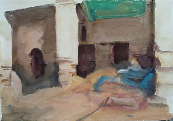 Antony Bream - The Skinners Yard, Fez, Morocco - Watercolour - 15 x 22 in