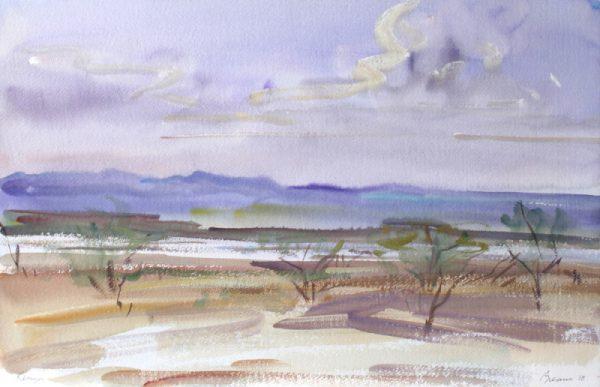 Antony Bream - Lake Magadi, Kenya - Watercolour - 15 x 22 in