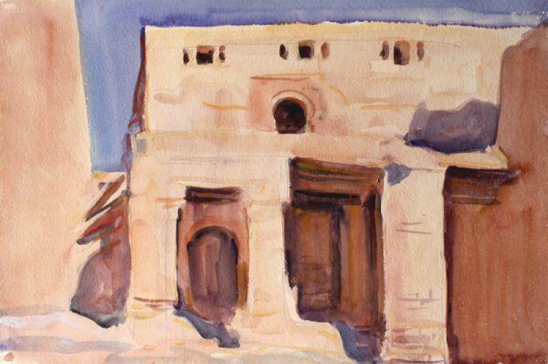 Antony Bream - Berber Mosque, Tinehir, Morocco - Watercolour - 15 x 22 in
