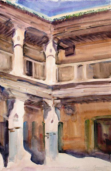 Antony Bream - Caravanseri, Marrakesh - Watercolour  - 22 x 15 in