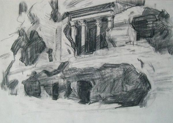 Antony Bream - Little Petra - Charcoal - 18 x 23 in
