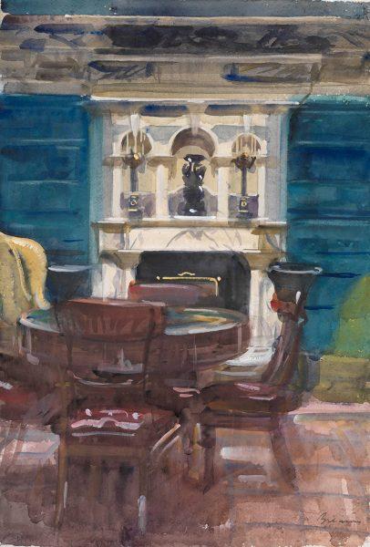 Antony Bream - Marble Fireplace, Debenham House - Watercolour - 22 x 15 in