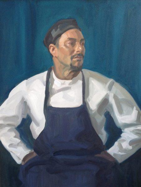 Antony Bream - Michael James, Chef at the Savile Club - Oil - 36 x 28 in